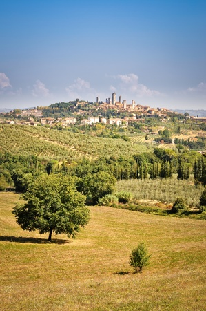 San Gimignano landscape view with fields and meadows photo