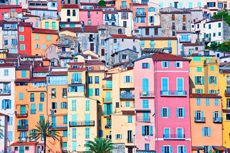 Colorful houses in Provence village Menton - saturated