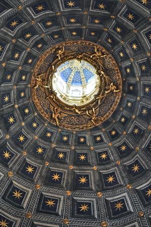 italian fresco: Duomo di Siena cathedral ceiling detail Stock Photo