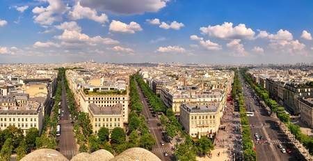 Paris panorama with Champs Elysee from Arc de Triomphe photo