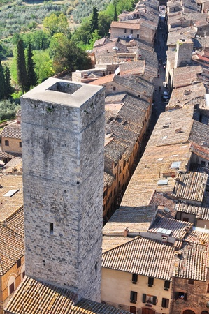 Tuscan village San Gimignano view from the tower photo