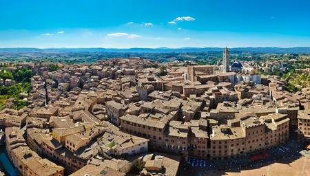 Siena panorama view from Tera Mangia tower Stock Photo