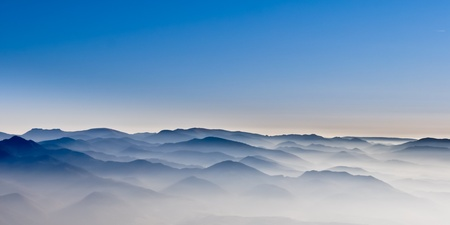 Misty mountain hills photo