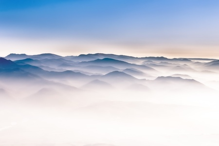 Misty mountain hills Stock Photo