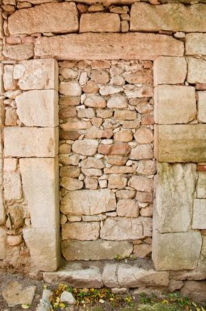 walled: Old concrete walled door Stock Photo