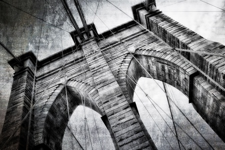 Brooklyn bridge detail view vintage black and white photo