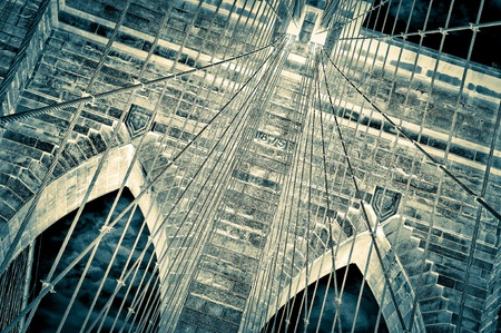 Brooklyn bridge detail view negative photo