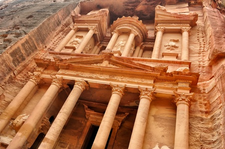Al Khazneh view from below - the treasury of Petra ancient city, Jordan photo