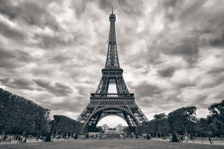 Eiffel tower with dramatic sky monochrome black and white Stock Photo