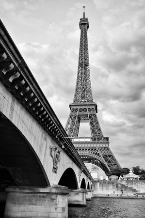 steel bridge: Eiffel tower view from Seine river under the bridge