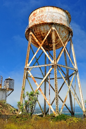 abandoned factory: Rusty water tank tower