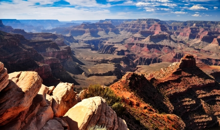 rims: Grand canyon landscape view with rocks in foreground