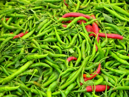 red chilly: Pile of green and red chilli peppers