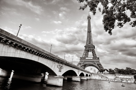 steel arch bridge: Eiffel tower view from Seine river