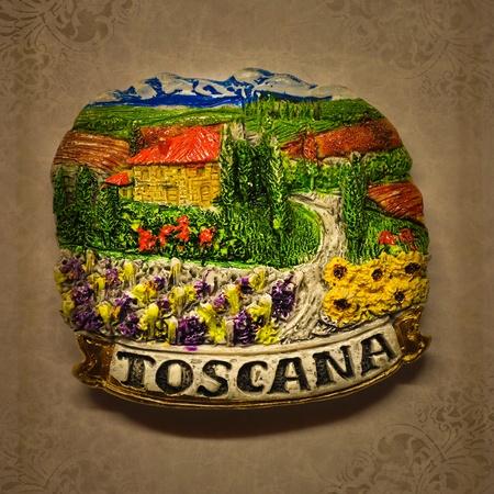 chianti: Ceramic illustration of Tuscan landscape