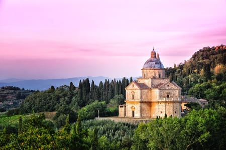San Biagio cathedral at sunset, Montepulciano, Italy photo