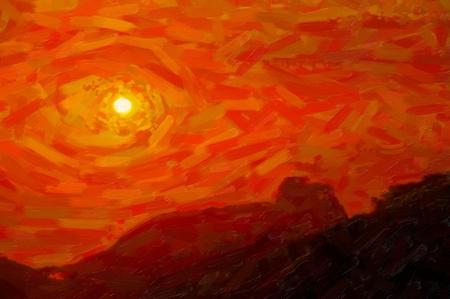 create: Red sunset - elaborazione pittura messaggio creato dal fotografo