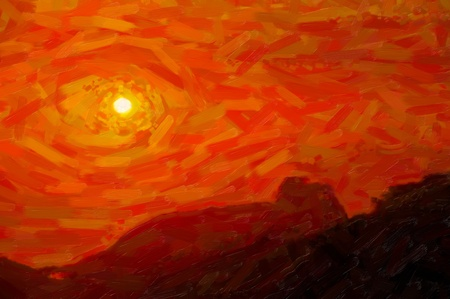 retro sunrise: Red sunset - post processing painting created by photographer Stock Photo