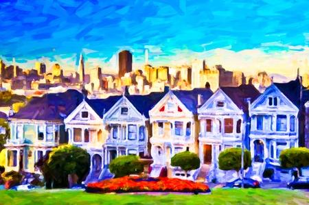 cartoline vittoriane: Case vittoriane di San Francisco - pittura post-elaborazione creata dal fotografo