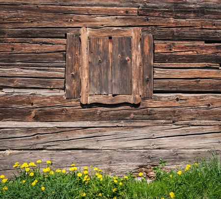 Wooden window and textured vintage wood wall
