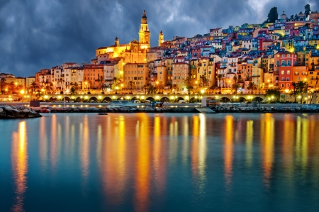 Provence village Menton after sunset photo