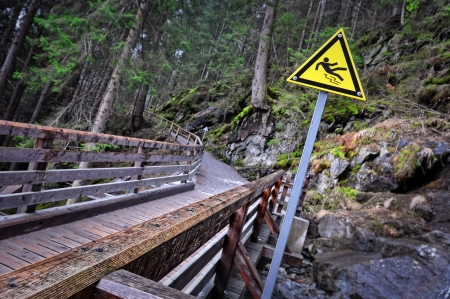 Slippery sign on the road in in the woods photo