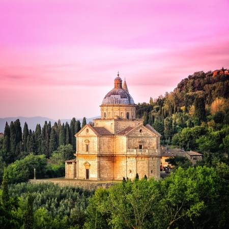 San Biagio cathedral at sunset - square, Montepulciano, Italy Stock Photo - 13809496