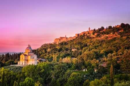 San Biagio cathedral at sunset - horizontal, Montepulciano, Italy photo