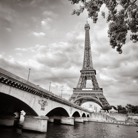 Eiffel tower monochrome square format photo