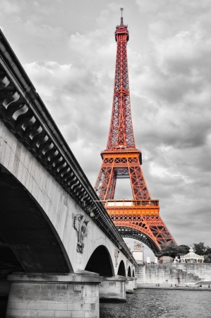 steel bridge: Eiffel tower monochrome and red