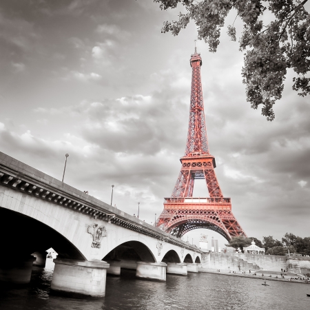 Eiffel tower monochrome selective colorization Stock Photo