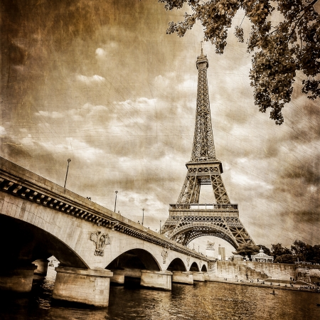 Eiffel tower square monochrome vintage photo