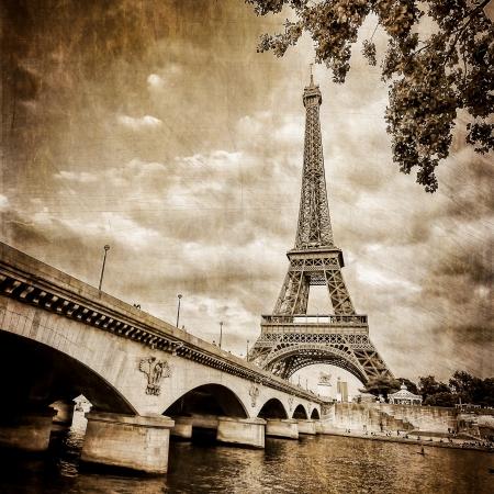 seine: Eiffeltoren vierkante zwart-wit vintage Stockfoto
