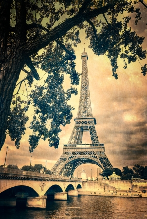 Eiffel tower monochrome vintage