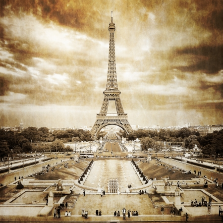 eiffel tower: Eiffel tower from Trocadero monochrome vintage Stock Photo