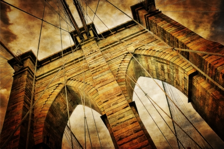 hudson river: Brooklyn bridge vintage view Stock Photo