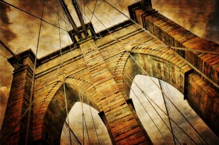 manhattan bridge: Brooklyn bridge vintage view Stock Photo