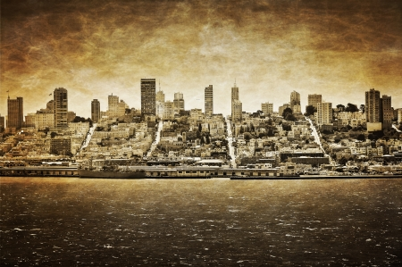 San Francisco vintage view from Alcatraz