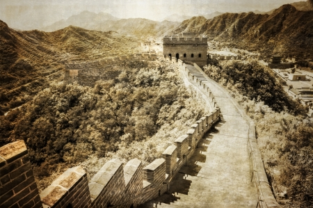 simatai: Great wall of China vintage monochrome Stock Photo