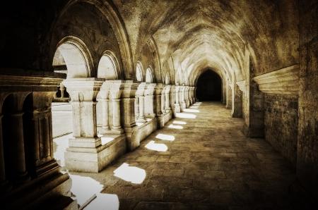 Abbaye de Fontenay archway retro vintage, France