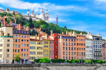 Lyon cityscape from Saone river with colorful houses photo