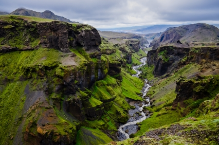Thorsmork mountains canyon and river, near Skogar, Iceland photo