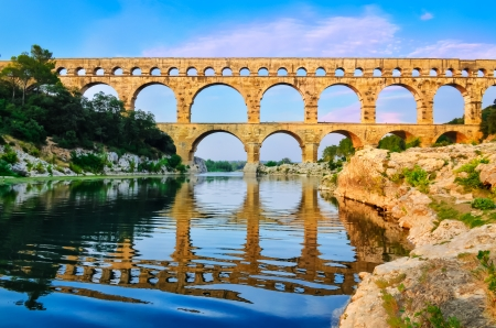 Pont du Gard view with river reflection, France