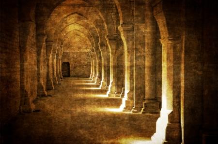 Abbaye de Fontenay Torbogen Halle vintage Standard-Bild - 15255542