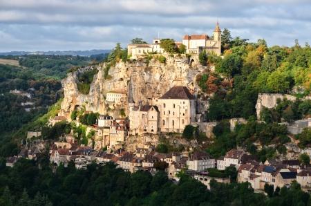 Rocamadour medieval village at sunrise, France photo