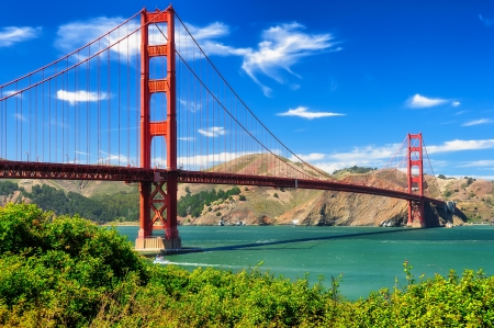 bridges: Golden gate bridge vivid day landscape, San Francisco Stock Photo
