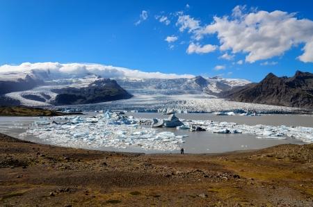 jokulsarlon: Ice lagoon and iceberg lake day landscape view, Iceland Stock Photo