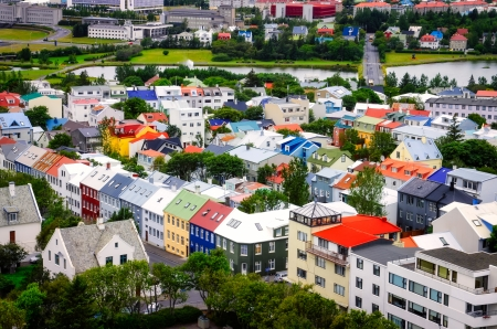 bird view: Reykjavik city bird view of colorful houses, Iceland Stock Photo