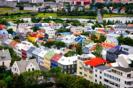 Reykjavik Vogelperspektive der bunten Häuser, Island Standard-Bild - 16148988