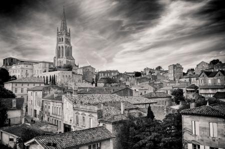 bordeaux region: St Emilion village in Bordeaux region, monochrome view, France